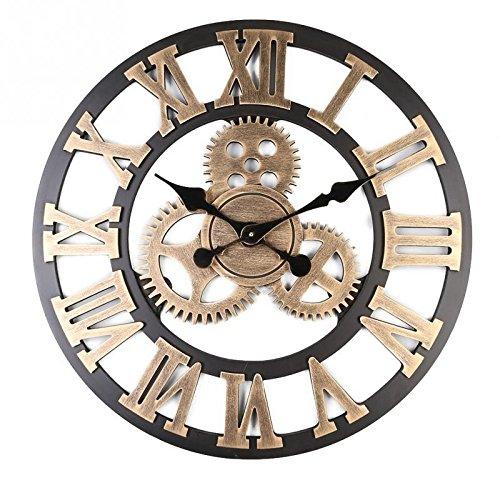 AjoliHome Retro Gear Clock Living Room Wall Clock Custom Creative Clock Wooden 3D Wall Clock (Gold, 16 inch)