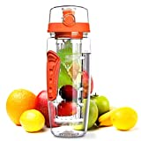 OMorc 32oz/900ml Sport Fruit Infuser Water Bottle, Toxin-Free, Shatter-Resistant and Impact-Resistant with Cleaning Brush, Ideal for Your Office and Home (Orange)