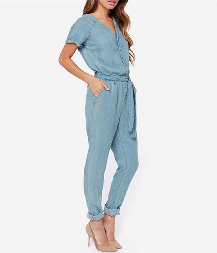 FiereWomen V-Neck Belt Short Sleeves Washed Jeans Rompers Playsuit