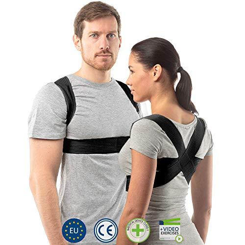 🥇 aHeal Corrector de Postura para Hombre y Mujer | Soporte para Corregir la Postura | Corsé Ortopédico para Escoliosis Cifosis | Alivio del Dolor de Espalda y Corrector de Mala Postura | Talla 0 Negro