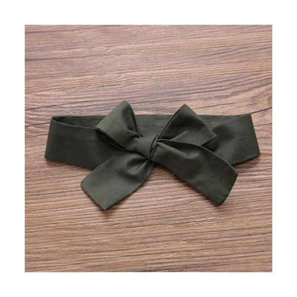 DaMohony - set di vestiti per bambina a maniche lunghe, pagliaccetto a righe, gonna con bretelle e fascia, per bambina… 6