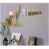 """Simmer Stone Gold Wall Grid Panel Photo Hanging Display & Wall Decoration Organizer, Multi-Functional Wall Storage Display Grid, 10 Clips & 4 Nails Offered, Set of 1, Size 17.7""""x37.4"""""""