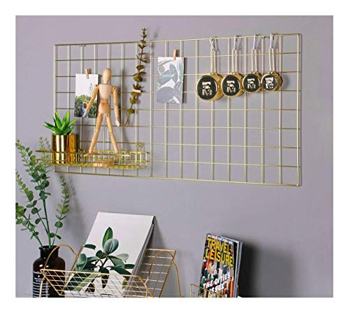 Simmer Stone Gold Wall Grid Panel Photo Hanging Display & Wall Decoration Organizer, Multi-Functional Wall Storage Display Grid, 10 Clips & 4 Nails Offered, Set of 1, Size 17.7