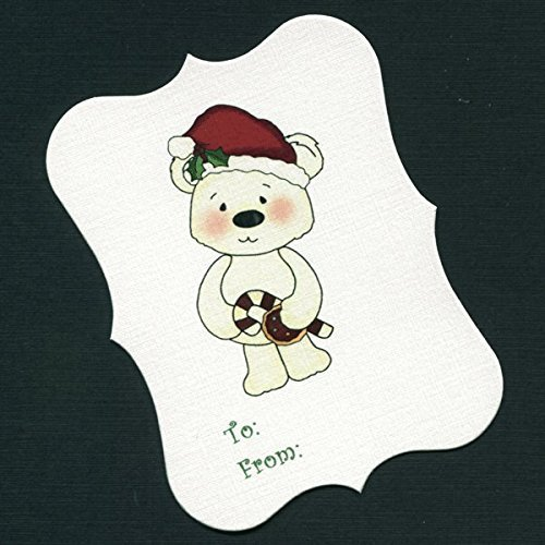 Christmas Gift Tags, Bear Holding Candy Cane And Cookie (Bears Candy Cane)