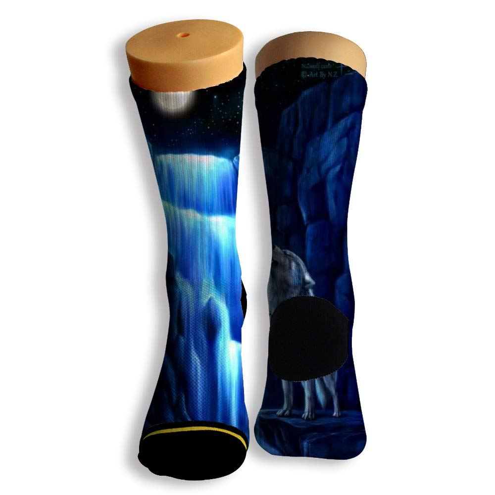 Basketball Soccer Baseball Socks by Potooy Arctic Wolf Pattern 3D Print Cushion Athletic Crew Socks for Men Women