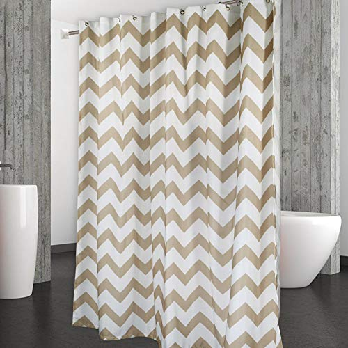(CAROMIO Shower Curtain, Water Repellent Chevron Fabric Shower Curtains for Bathroom Geometric, 72 x 72 inch, Tan and White)