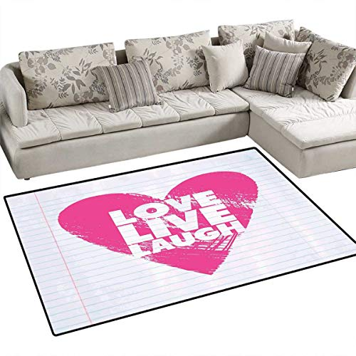 Live Laugh Love Anti-Skid Rugs Notebook Style Backdrop with a Giant Heart and a Motivational Phrase Girls Rooms Kids Rooms Nursery Decor Mats 48