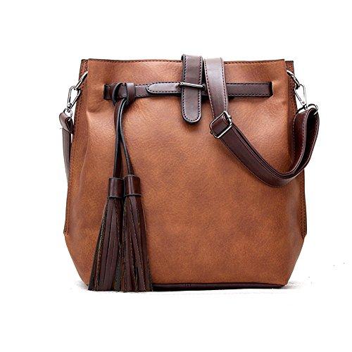 Chikencall Women Fashion Handbag with Studded Tassel Pendant,PU Leather Shoulder Top-handle Bags,Ladies Hobo Satchel Handbags,Classic Women Purse Brown