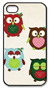 Art Fashion Black PC DIY Case for iPhone 4 Generation Back Cover Case for iPhone 4S with Cartoon Owl by runtopwell