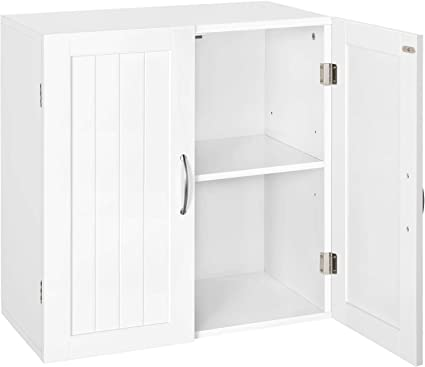 Yaheetech Kitchen Cupboard Storage Bathroom Wall Cabinets Organiser Unit With Double Door And Adjustable Shelf White 59 5x31x59 7cm Amazon Co Uk Kitchen Home
