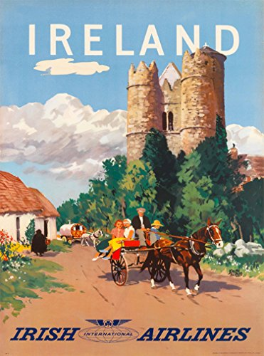A SLICE IN TIME Ireland Irish International Airlines Great Britain Vintage Airline Travel Wall Decor Advertisement Art Wall Decor Poster Print. 10 x 13.5 - International Airlines