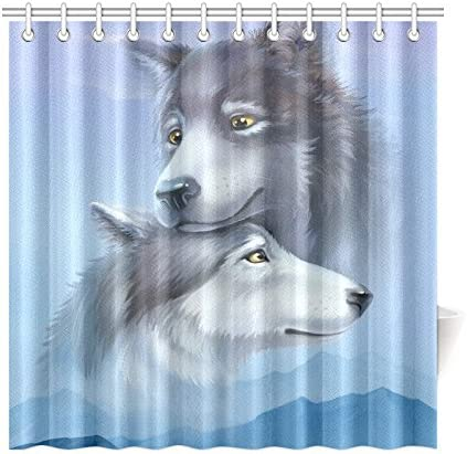 Home Mat Set Waterproof Fabric Loving Wolf Couple Shower Curtain Liner Bathroom