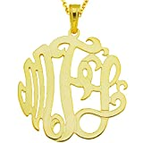 "10Y-Mono150pc 10K Yellow Gold(1.5""x0.4mm thin)3-initial Monogram Pendant Necklace"