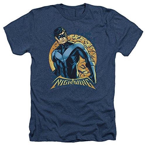 Trevco Men's Batman Short Sleeve T-Shirt, Moon Heather Navy, X-Large ()