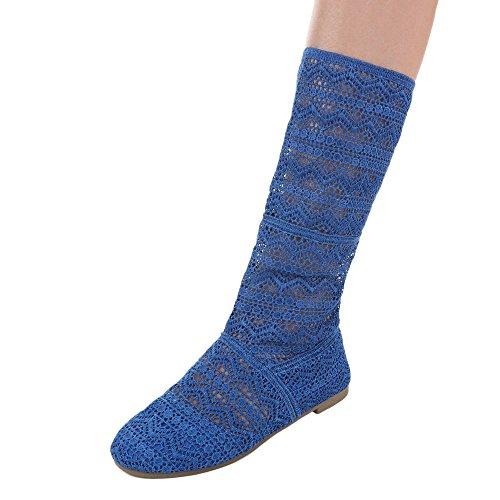 Ital-Design Komfort Pumps Damenschuhe Geschlossen Blockabsatz Luftig Leichte Pumps Blau