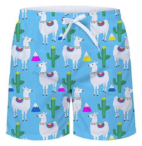 (uideazone Youth Swimming Trunks Cactus Alpaca Printed Beach Swim Shorts Cool Board Shorts Adjustable Surf Shorts)