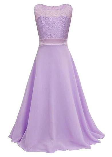 30526ab0325f Amazon.com  Fensajomon Girls Lace Sleeveless Wedding Prom Dance Ball Party  Bridesmaid Maxi Dress Gown  Clothing