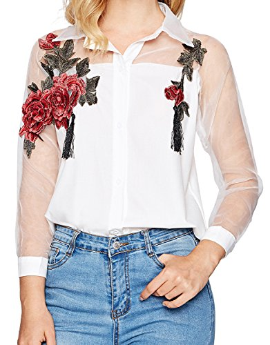 Romwe Women's Floral Embroidered Collar Button up Long Sleeve Shirt Blouse White XL