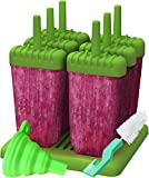 freezer jelly - Ozera Reusable Popsicle Molds Ice Pop Molds Maker - Set of 6 - With Silicone Funnel & Cleaning Brush - Green