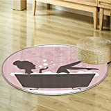 Nalahomeqq Teen Girl Women Decor Beautiful Woman in Bath Tub Spa Relaxation Treatment Concept Vintage Style Fabric Room Circle carpet non-slip Powder Pink Dark Taupe-Diameter 90cm(36'')