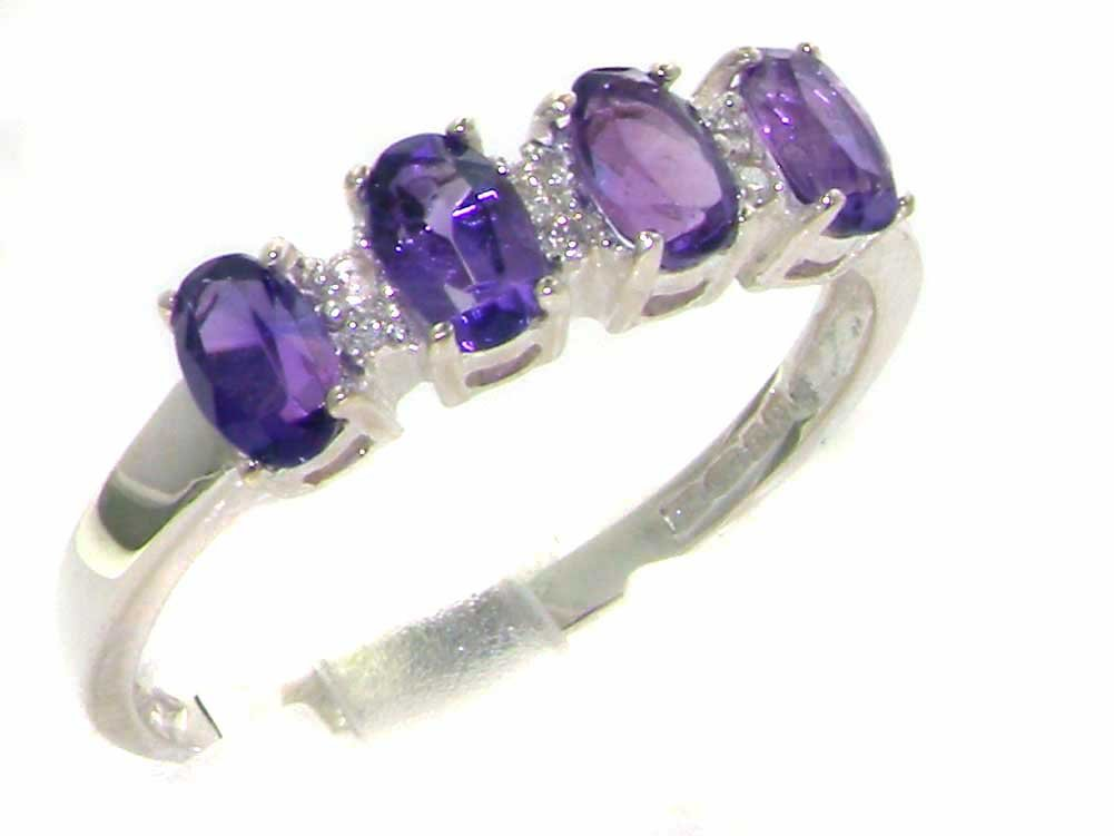 925 Sterling Silver Natural Amethyst and Diamond Womens Eternity Ring - Sizes 4 to 12 Available