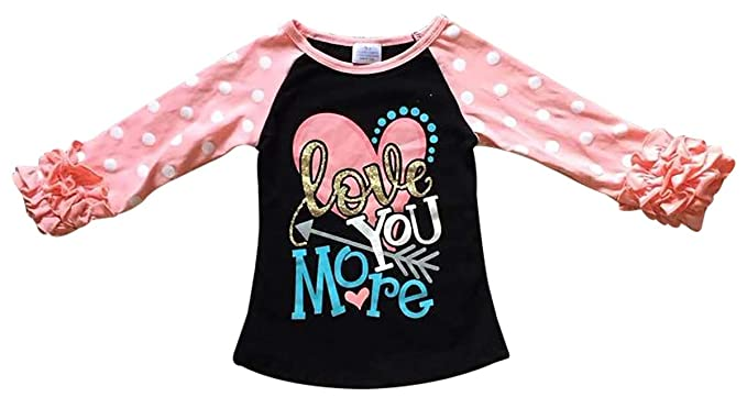 f7c9625c57f Toddler Girls Ruffle Sleeve Love You More Valentines Day T-Shirt Top Tee  Kids Black