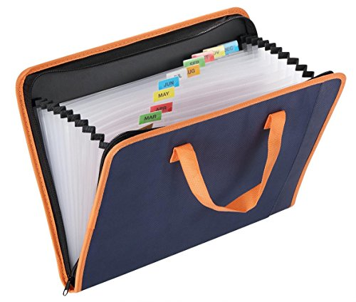 Snail&Hawk Fabric Accordion Expanding File-Folder,13-Pockets,Zipper Closure,A4 Size,Orange Handles(Dark Blue)