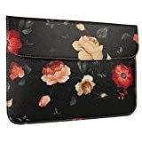 GOLINK Leather Laptop Sleeve Bag for 11 inch MacBook Air/13 inch New MacBook Pro, A1370/A1465/A1706/A1708/13 inch Laptop Slim Carrying Bag, Floral Rose