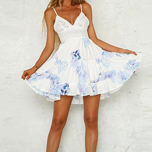e2cb962ea56ee ... Sommerkleid Frauen Kurzes A-linie Blue Strandkleid Vintage Weiß Party  Boho Sommer Abend Schulterkleid Gedruckt ...
