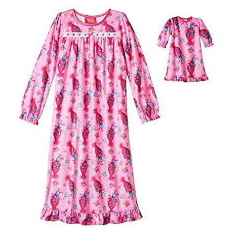 Trolls Poppy Nightgown and Doll Dress Set Size 10