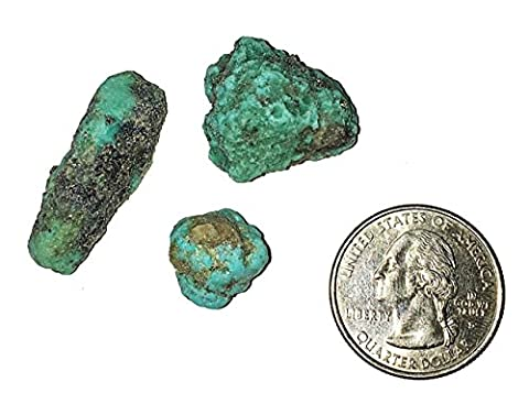 3 Rough Turquoise Nuggets from Mexico - Blue Green - Genuine Rough