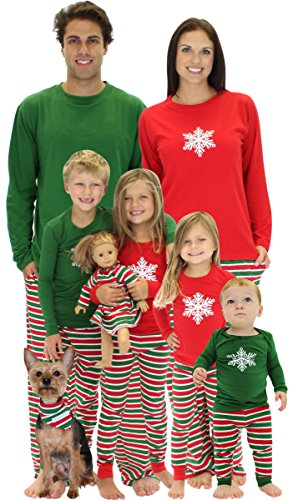 SleepytimePjs Family Matching Pajamas Kids Red Top with Striped Pants- 8
