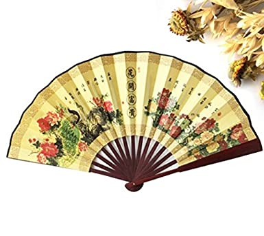 Amazon.com: 100% Polyester Wood Hand Fans Chinese Vintage Fancy Dress  Costume Men'S Decorations Craft Supplies Gift Party Decoration: Industrial  & Scientific
