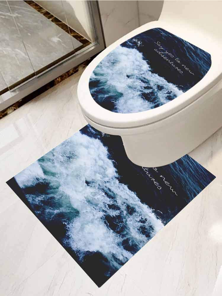 AuraiseHome Toilet Lid Cover Sticker Ocean Wave Waterproof Wall Decals Two-Piece Set