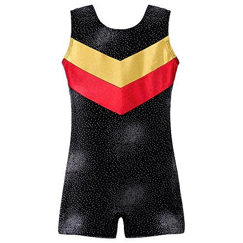 DAXIANG Little Girls Double-V Gymnastics Leotard One-Piece Shiny Danskin Unitard Biketard (130(6-7Y), Black)