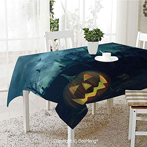 BeeMeng Large Family Picnic Tablecloth,Easy to Carry Outdoors,Halloween,Halloween Pumpkin in Spooky Graveyard Eerie Gloomy Stormy Atmosphere,Petrol Blue Yellow,59 x 104 inches ()