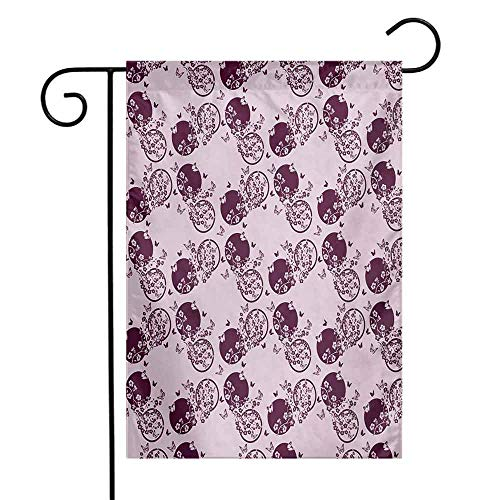 Mannwarehouse Japanese Garden Flag Traditional Cherry Blossom Sakura Branches Butterflies on Large Polka Dots Premium Material W12 x L18 Pale Pink Plum ()