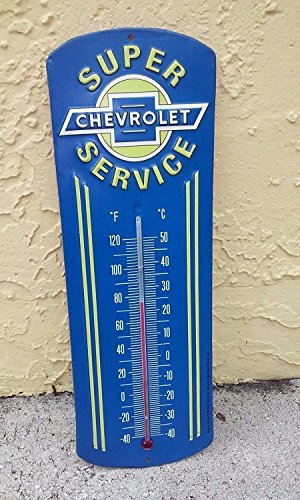 Open Road Brands Chevrolet Super Service Metal Thermometer (Thermometer Vintage Wall)