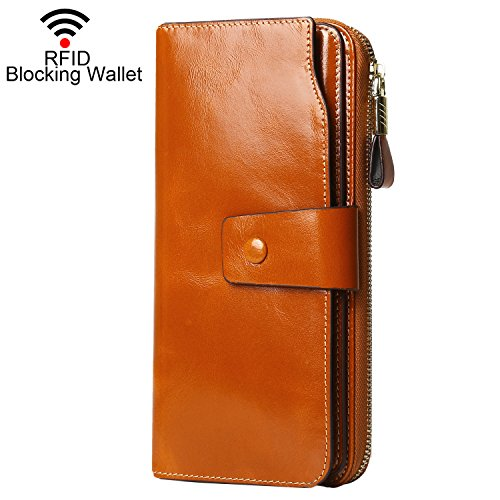 Tan Leather Large (Dante RFID Blocking Large Capacity Wax Real Leather Wallet Clutch Travel Purse for Women(2083 Tan))