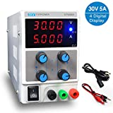 LETOUR Variable DC Power Supply 30V 5A Regulated Power mA Display 305D Adjustable Power Supply 150W Foot Power Low Noise with Alligator Cable and AC 110V Power Cord