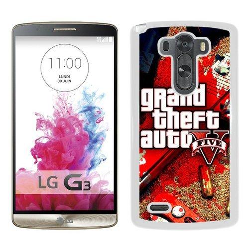 LG G3 Case,Grand Theft Auto V 2 White LG G3 Shell Phone Case,Luxury Cover