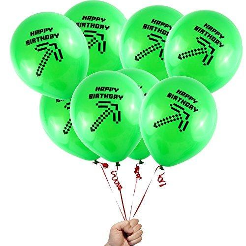 Mixed (Green Happy Birthday Axe) Pixelated Balloons -