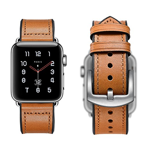 Sweatproof Hybrid Leather Sports Watch Band Vintage Replacement Bands for Apple Watch iwatch Series 123 Dark Brown Replacement Straps with Sliver Stainless Steel Buckle Clasp (42mm, Brown) by WTHSTRAP (Image #6)