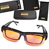 Anti-Blue Light Blocking Computer Glasses Set: Fit Over Reading or Prescription Glasses, Wear Amber Lens at Night for Sleep Insomnia, Migraines, Headaches Relief: Men, Women, Gamer, Gaming, Office