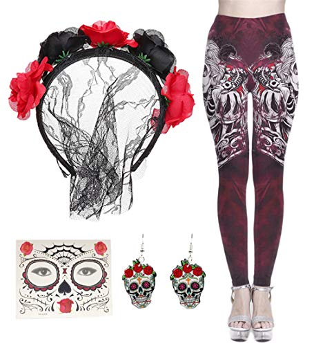 FUNDAISY Lace Veil Rose Flower Headband with High Waist Skull Earring Yoga Leggings Pant (Wine Red, L) ()