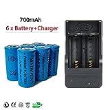 NADINCN 6 x 700mah 3.7v Cr123a 16340 Protected High capacity Li-ion Rechargeable Battery +2-Slots charger