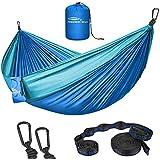 Forbidden Road Hammock Double Camping Portable Parachute Hammock for Outdoor Hiking Travel Backpacking - 210D Nylon Taffeta Hammock Swing - Support 660lbs Ropes (Dark Blue & Baby Blue)