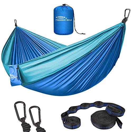 - Forbidden Road Hammock Double Camping Portable Parachute Hammock for Outdoor Hiking Travel Backpacking - 210D Nylon Taffeta Hammock Swing - Support 660lbs Ropes (Dark Blue & Baby Blue)
