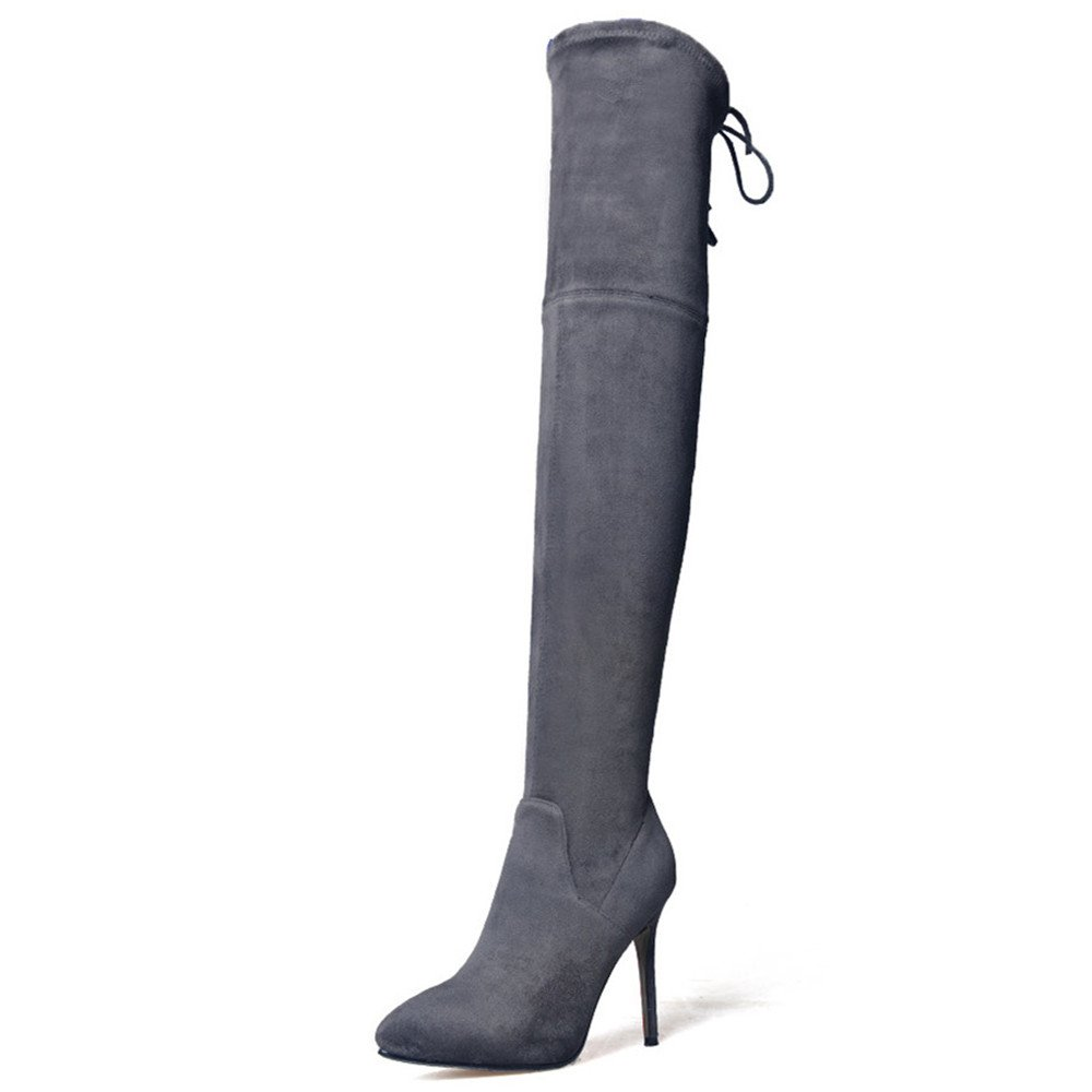 Nine Seven Suede Leather Women's Pointed Toe Stiletto Heel Slip On Handmade Cute Over The Knee Boots (7.5, Light Grey)