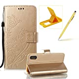 Strap Case for iPhone X,Wallet Leather Cover for iPhone X,Herzzer Classic Elegant [Gold Butterfly Pattern] PU Leather Fold Stand Card Holders Smart Phone Case for iPhone X + 1 x Free Yellow Cellphone Kickstand + 1 x Free Yellow Stylus Pen